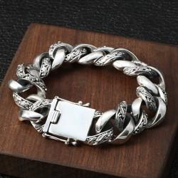 Men's Sterling Silver Carved Curb Chain Bracelet