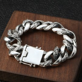 Men's Sterling Silver Carved Curb Chain Bracelet