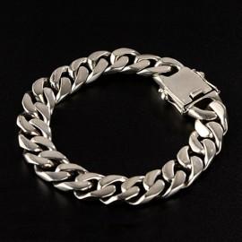 Men's Sterling Silver Plain Curb Chain Bracelet