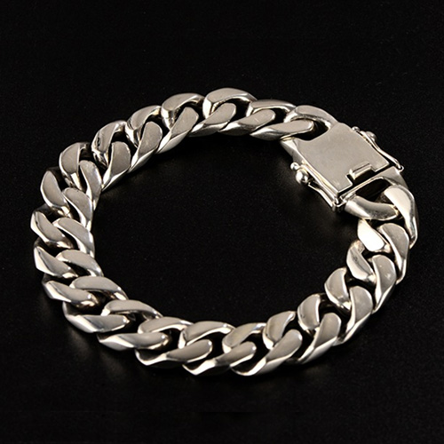 Men's Sterling Silver Plain Curb Chain Bracelet