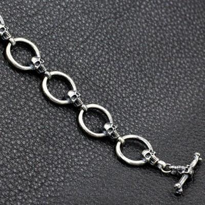 Men's Sterling Silver Skull and Ring Link Bracelet