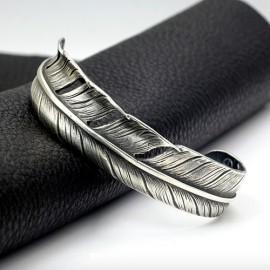 Men's Sterling Silver Feather Cuff Bracelet