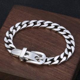 Men's Sterling Silver Belt Buckle Curb Chain Bracelet