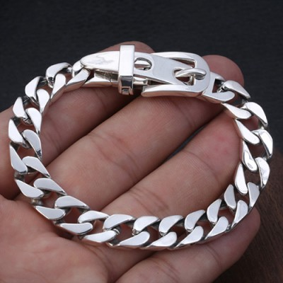 Men's Sterling Silver Belt Buckle Curb Chain Bracelet
