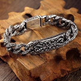 Men's Sterling Silver Ivy Pattern Curb Chain Bracelet