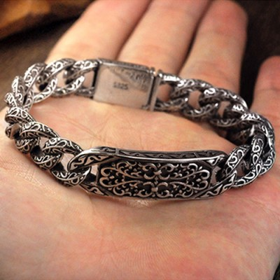 Men's Sterling Silver Ivy Pattern Curb Chain Bracelet