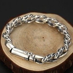 Men's Sterling Silver France Fleur Link Bracelet