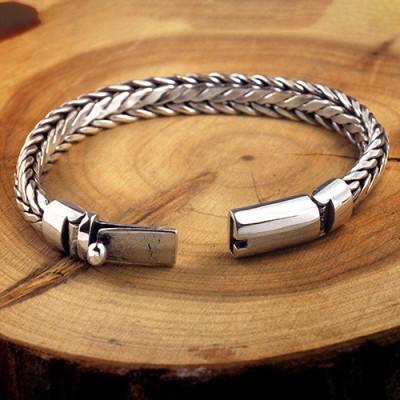 Men's Sterling Silver Braided Chain Bracelet