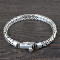 Men's Sterling Silver Semi-Byzantine Chain Bracelet