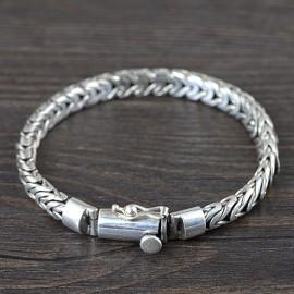 Men's Sterling Silver Semi-Byzantine Chain Bracelet