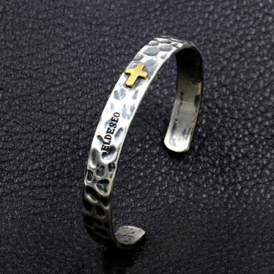 Men's Sterling Silver Hammered Cross Cuff Bracelet