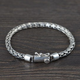 Men's Sterling Silver Braided Rope Chain Bracelet