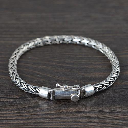 Men's Sterling Silver Braided Rope Chain Bracelet