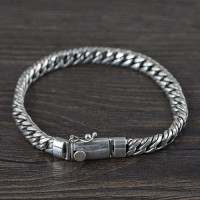 Men's Sterling Silver Flat Rope Chain Bracelet