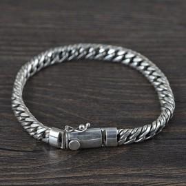 Men's Sterling Silver Flat Rope Chain Bracelet