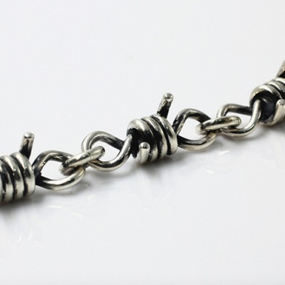Men's Sterling Silver Thorns Chain Bracelet