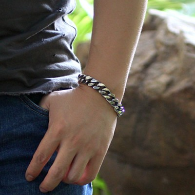 Men's Sterling Silver Thick Curb Chain Bracelet