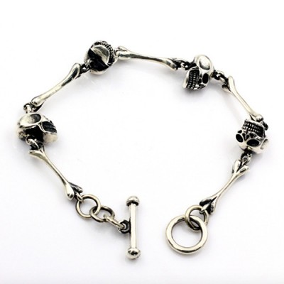 Men's Sterling Silver Skull and Bone Bracelet