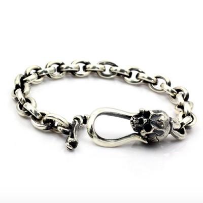 Men's Sterling Silver Skull Clasp Link Chain Bracelet