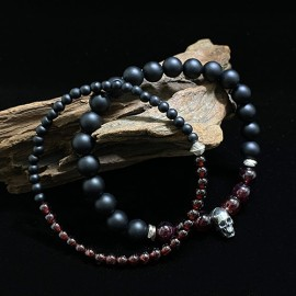 "Men's January Birthstone Garnet Beaded Bracelet with Sterling Silver Charms 6.5""-8.5"""