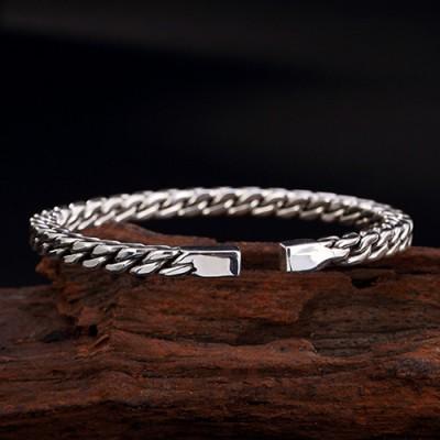 Men's Fine Silver Curb Chain Cuff Bracelet