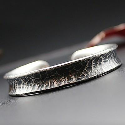 Men's Fine Silver Hammered Cuff Bracelet