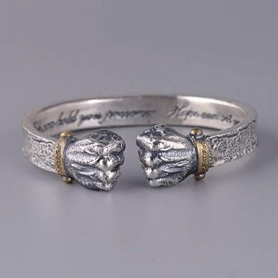 Men's Fine Silver Fists Cuff Bracelet