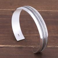 Men's Sterling Silver Zigzag Pattern Cuff Bracelet
