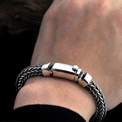 Men's Sterling Silver Braided Chunky Chain Bracelet