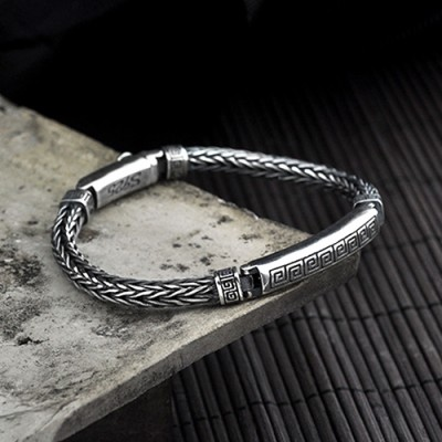 Men's Sterling Silver Buddhist Totem Chain Bracelet