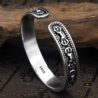 Men's Sterling Silver Six True Words Mantra Cuff Bracelet