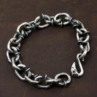 Men's Sterling Silver Nails Link Chain Bracelet