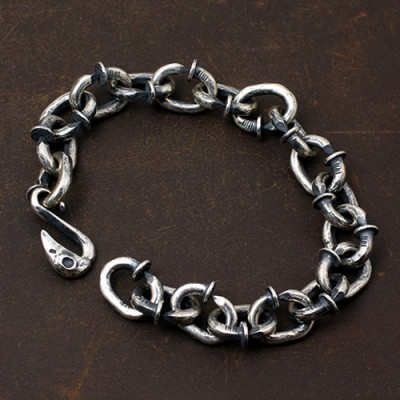 Men's Sterling Silver Nails Link Chain Bracelet
