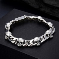 Men's Sterling Silver Skulls Curb Chain Bracelet