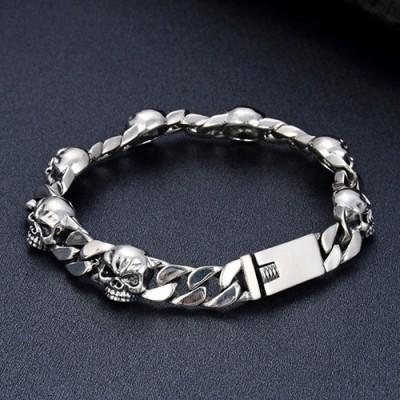 Men's Sterling Silver Skulls Curb Chain Bracelet