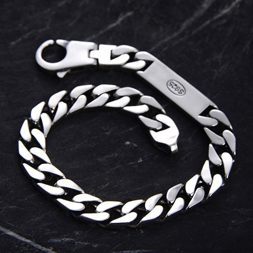 Men's Sterling Silver ID Curb Bracelet