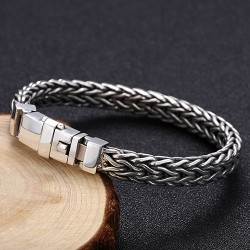 Men's Sterling Silver Braided Chain Bracelet