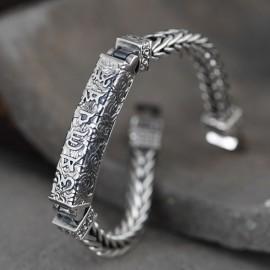 Men's Sterling Silver Six True Words Mantra Braided Bracelet