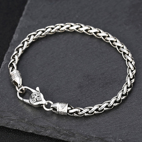 Men's Sterling Silver Six True Words Mantra Braided Bracelet