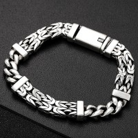 Men's Sterling Silver Byzantine and Curb Chain Bracelet