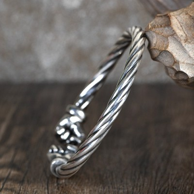 Men's Fine Silver Fists Twisted Cuff Bracelet