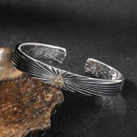 Men's Sterling Silver All-Seeing Eye Cuff Bracelet