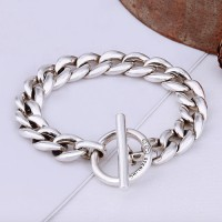 Men's Sterling Silver Sleek Curb Chain Bracelet