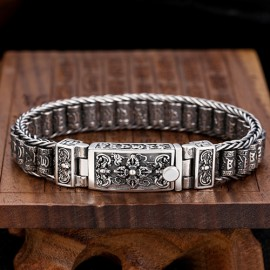 Men's Sterling Silver Prayer Wheels Bracelet