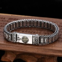 Men's Sterling Silver Six True Words Mantra Wheels Bracelet