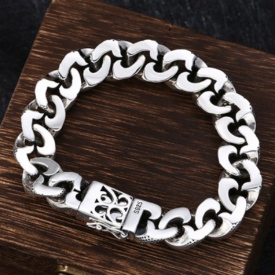 Men's Sterling Silver Ivy Pattern Cuban Chain Bracelet