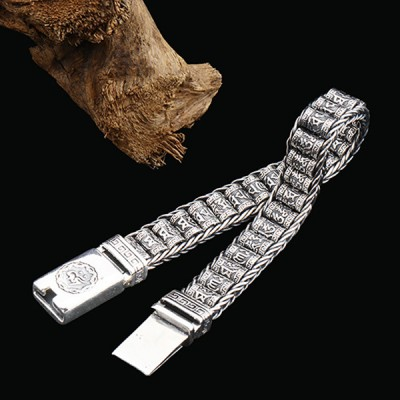 Men's Sterling Silver Buddhist Prayer Wheels Bracelet