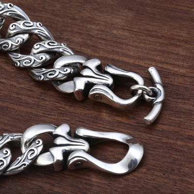 Men's Sterling Silver Lion Cuban Chain Bracelet