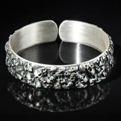 Men's Fine Silver Skulls Cuff Bracelet
