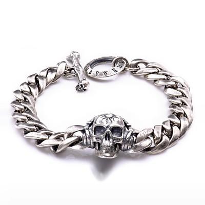 Men's Sterling Silver Skull Cuban Chain Bracelet